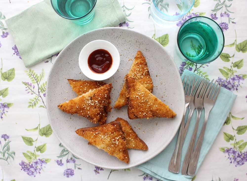 Toast di gamberi cinesi ricetta originale con sesamo for Gamberi alla piastra cinesi